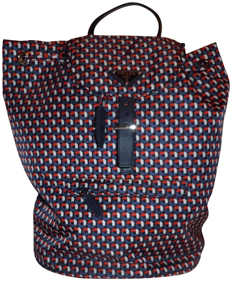 Stampato Women's Backpack Canvas Tessuto Prada Red Rosso wEqHdHf