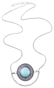 Lucky Brand LUCKY BRAND Silver Tone Turquoise Medallion Necklace JLRY2776