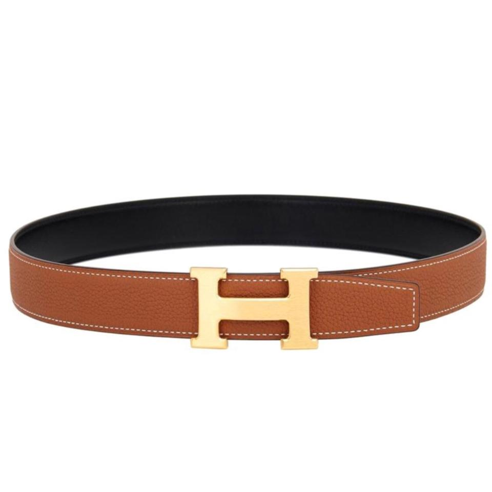 Fresh Hermès Gold Constance 90cm 32mm Reversible Black/Gold Tan Leather  QI25