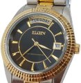 Elgin Vintage Elgin Black Gold Dial Watch Two Tone Bracelet Band