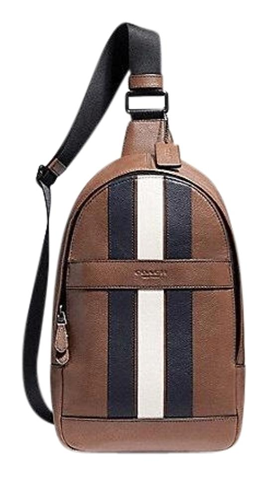 89e7ae33d471 Coach Men s Charles Pack with Varsity Stripe Saddle Calf Leather Cross Body  Bag