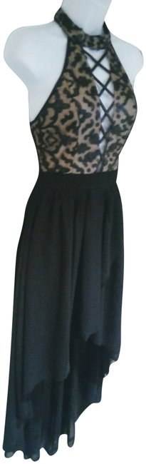Item - Black / Nude Evening Long Night Out Dress Size 4 (S)