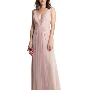Monique Lhuillier Shell Tulle Chiffon 450381 Feminine Bridesmaid Mob Dress Size 6 S