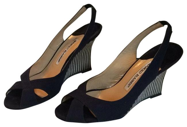 Item - Navy/White Canvas and Suede Slingback Wedges Size US 6 Regular (M, B)