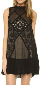 Free People Sleeveless Crochet Mesh Ruffle Dress