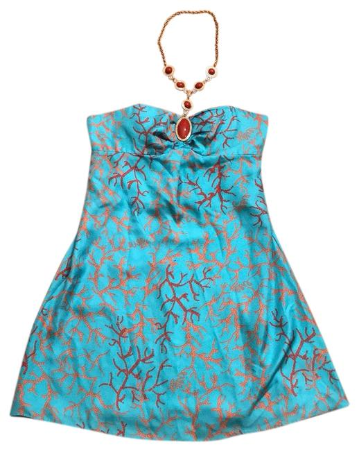 Item - Blue Red Coral and Gold Necklace Short Cocktail Dress Size 8 (M)