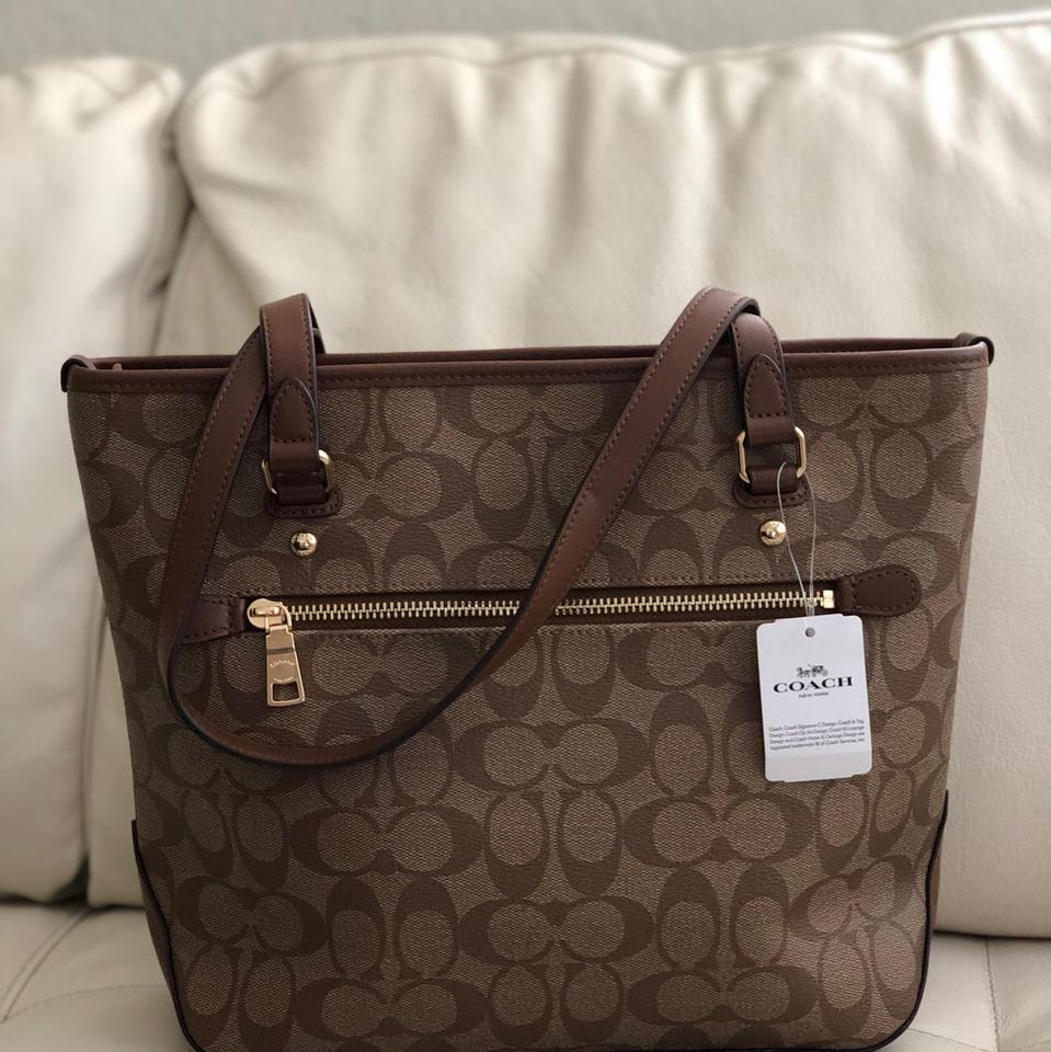 a2ced8d7855d Coach Zip Top Shoulder In Signature F58294   Wallet Set Saddle Khaki Canvas  Tote