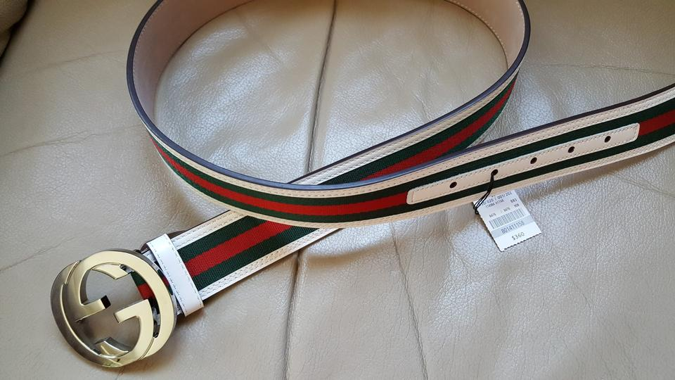 f81a9f743 Gucci men red/green web white leather interlocking G buckle belt sz 85/34.  123456