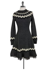 RED Valentino Grey Knit Dress Sweater
