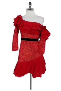 For Love & Lemons short dress red Lace Ruffle on Tradesy