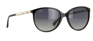 Chanel 5306 B Black CC Logo Crystal Strass Baroque Gilded Oval Cat Eye Cateye