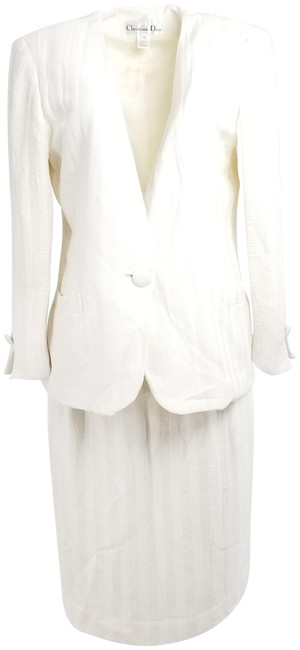 Item - White Ivory Striped Skirt Suit Size 12 (L)