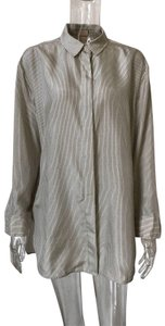 H&M Silk Stripped Button Down Shirt Beige