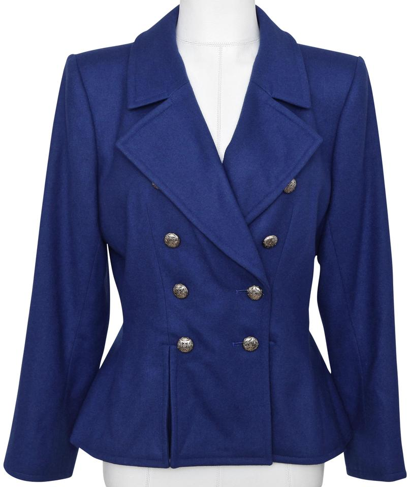 af0bee42a72 Saint Laurent Blue Ysl Yves Wool Jacket Coat Double Breasted 38 ...