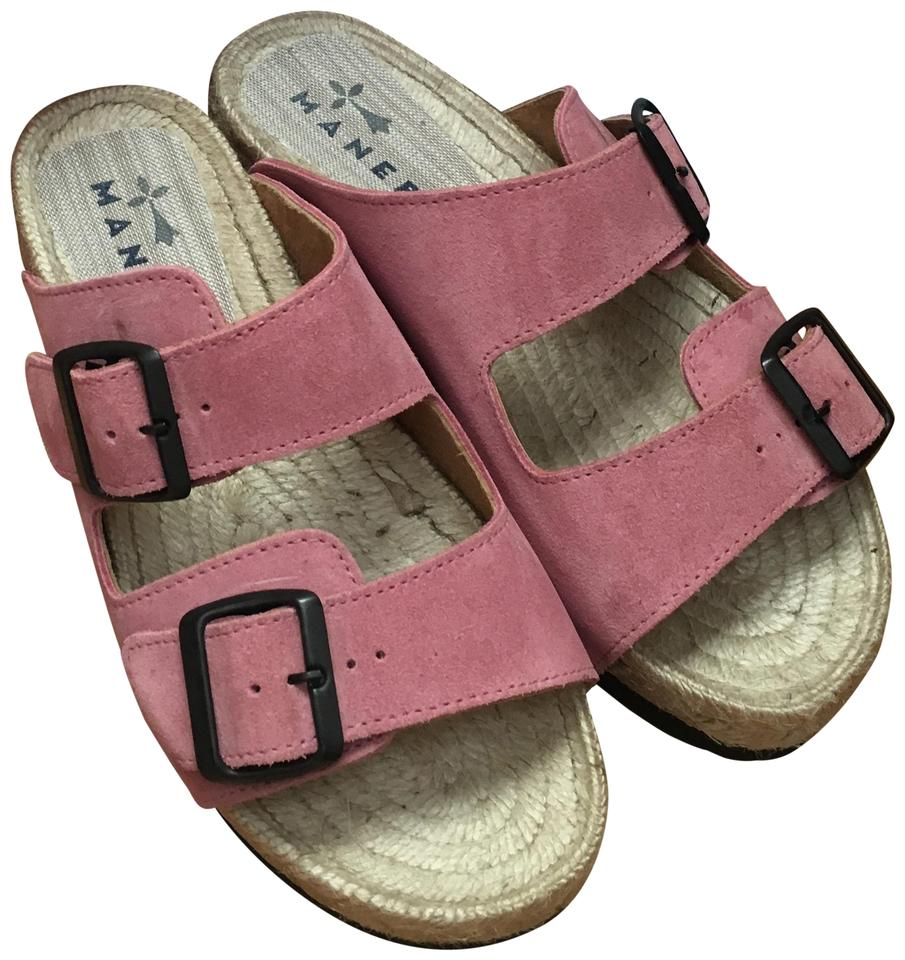 679e0254bcf Manebi Seude Leather Espadrille Adjustable Straps Jute pink Sandals Image 0  ...