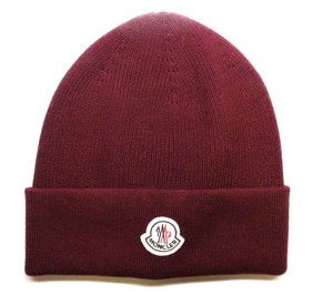 Moncler BRAND NEW MONCLER KNITTED BURGUNDY WINTER BEANIE HAT CAP WOOL BLEND