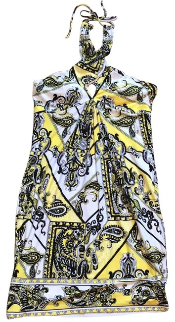 Preload https://img-static.tradesy.com/item/23267345/cache-yellow-black-halter-mid-length-short-casual-dress-size-12-l-0-1-650-650.jpg