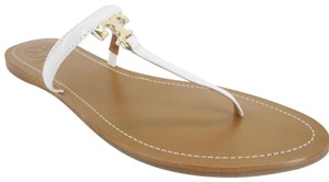 Tory Burch 7050302 Flat Logo White Sandals