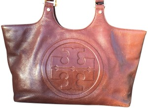 Tory Burch Leather Monogram Unique Tote in Brown