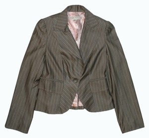 Banana Republic Gray and Pink Pinstriped Blazer