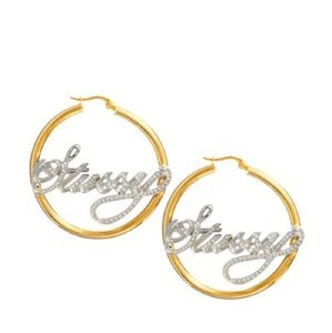 Stüssy Silver And Gold Stussy Name Plate Crystal Hoop Earrings