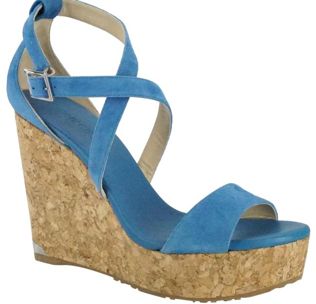 Item - Blue Suede Portia Cork Platform Heel Espadrille Sandals Wedges Size EU 40 (Approx. US 10) Regular (M, B)