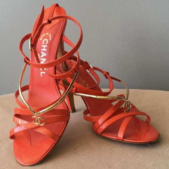 Chanel Monogram Gold Hardware Signature Strappy Patent Coral Sandals Image 1