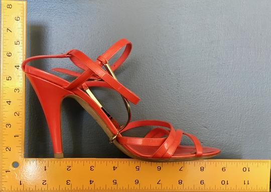 Chanel Monogram Gold Hardware Signature Strappy Patent Coral Sandals Image 11