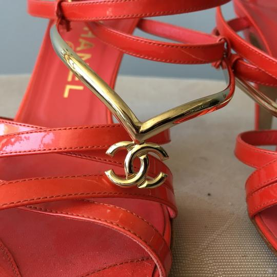 Chanel Monogram Gold Hardware Signature Strappy Patent Coral Sandals Image 2