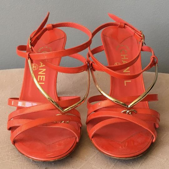 Chanel Monogram Gold Hardware Signature Strappy Patent Coral Sandals Image 3