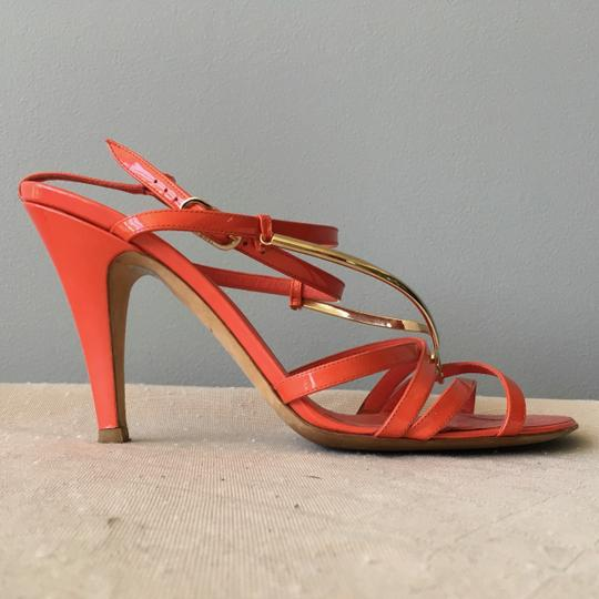 Chanel Monogram Gold Hardware Signature Strappy Patent Coral Sandals Image 4
