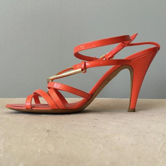 Chanel Monogram Gold Hardware Signature Strappy Patent Coral Sandals Image 5