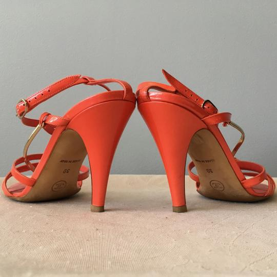 Chanel Monogram Gold Hardware Signature Strappy Patent Coral Sandals Image 6