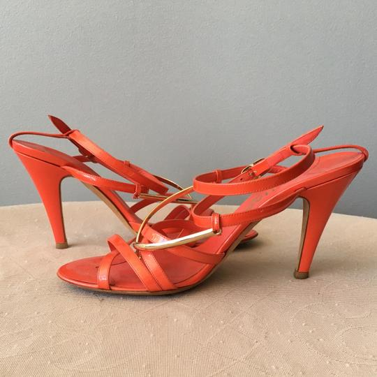 Chanel Monogram Gold Hardware Signature Strappy Patent Coral Sandals Image 8