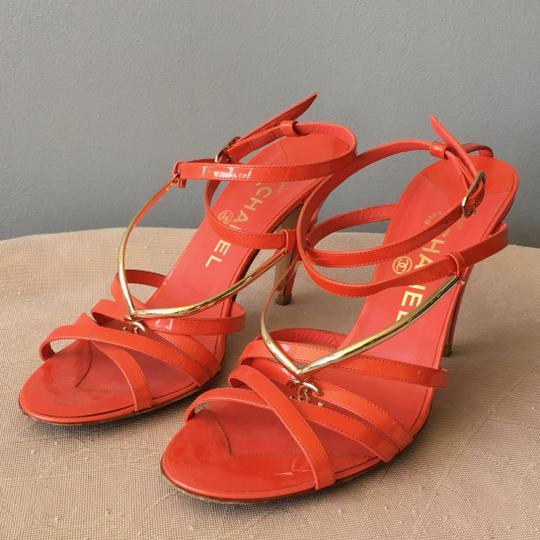Chanel Monogram Gold Hardware Signature Strappy Patent Coral Sandals Image 9