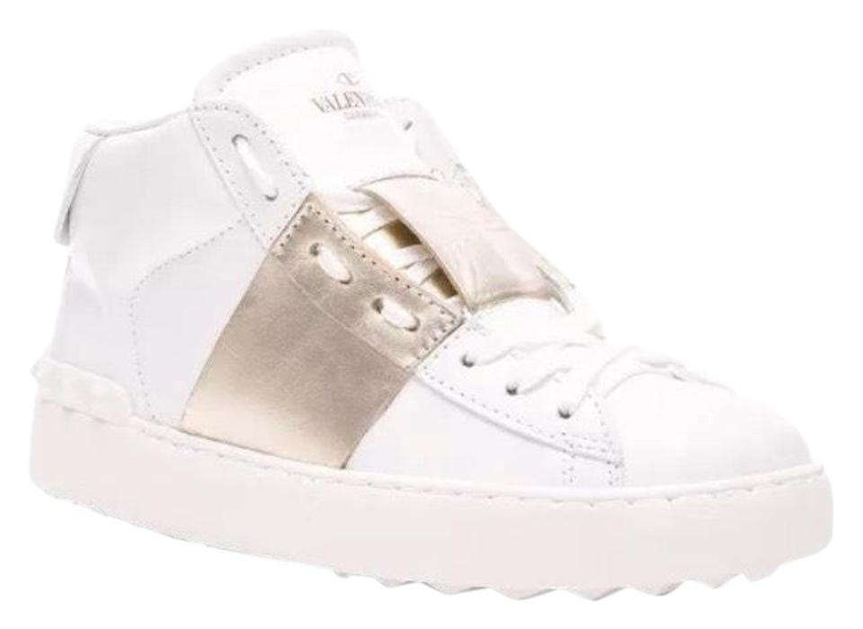 7732b9800e3a Valentino White Gold Garavani Rockstud High Top Leather Sneakers ...