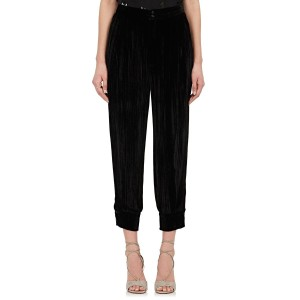 Masscob Joggers Cropped Velvet Casual Relaxed Pants Black
