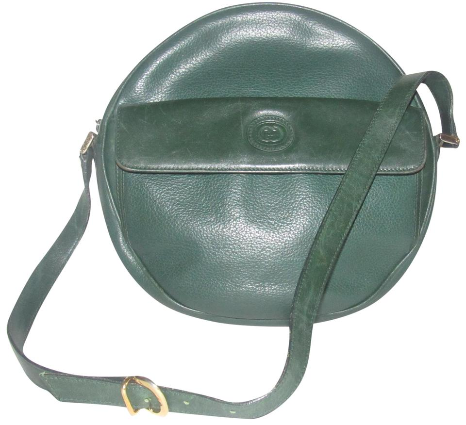 8508ed6fb1f844 Gucci Mint Vintage Rare Round Shape Rare Two Exterior Pockets Canteen Style  Satchel in rich textured ...