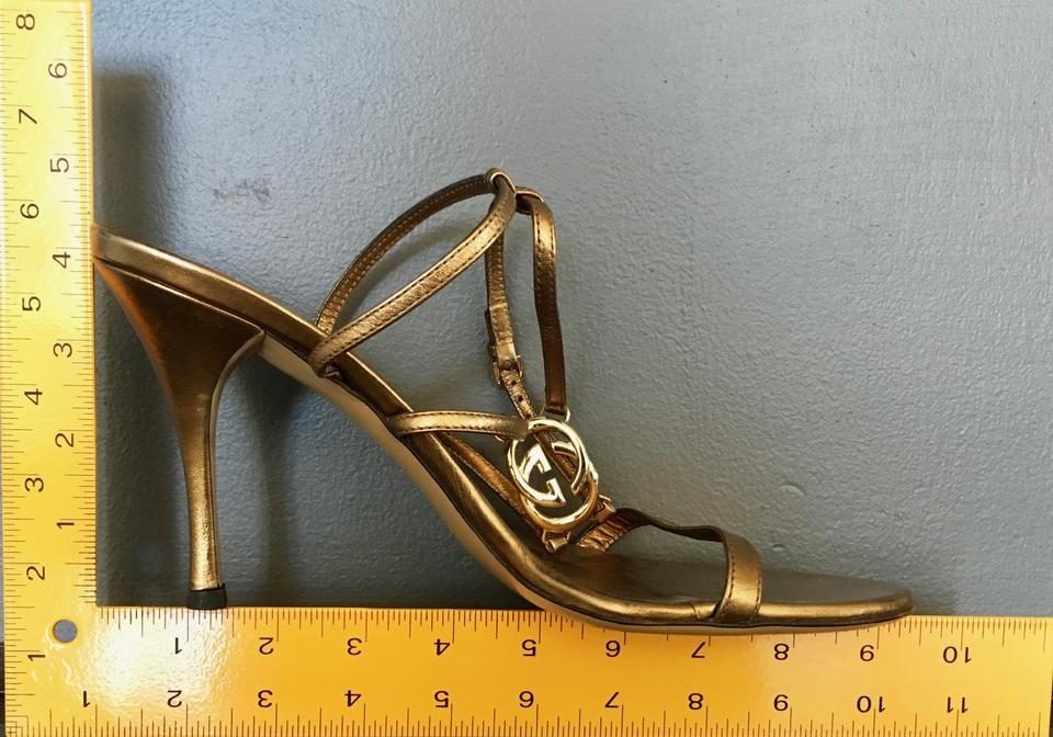 8ca368bea46e1 Gucci Monogram Signature Ankle Strap Hardware Gold Sandals Image 10.  1234567891011. 1 ∕ 11