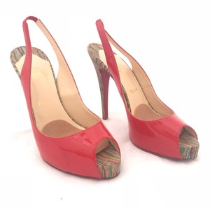 e908d682d Christian Louboutin Hidden Platform Peep Toe Slingback Cork Red Pumps