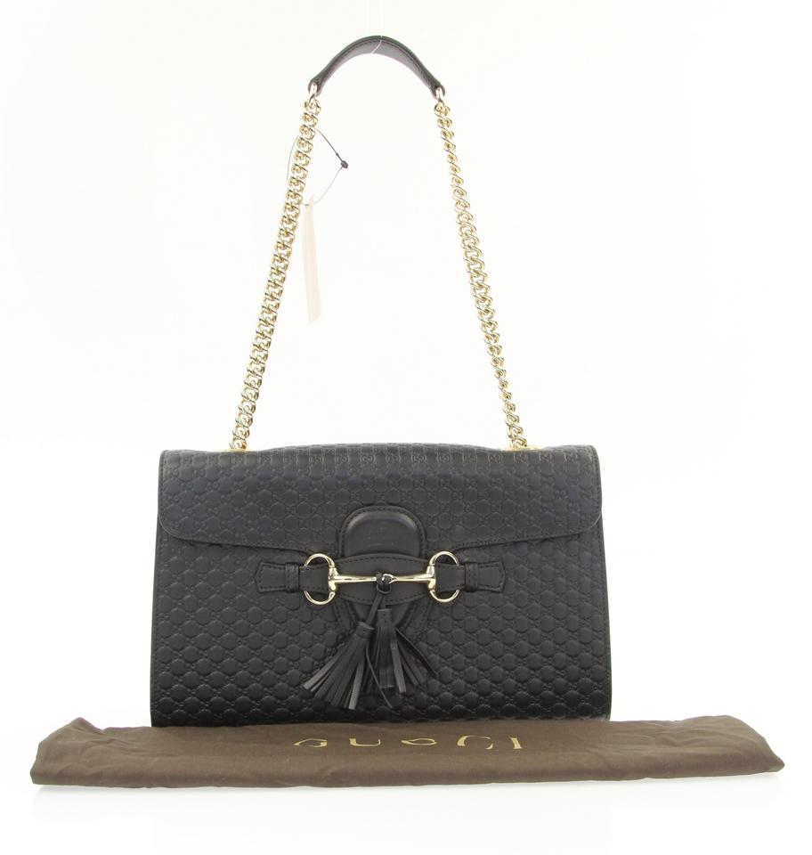 6edf7964cb24 Gucci Emily Medium Black Leather Shoulder Bag - Tradesy