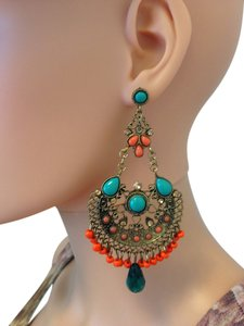 Large ethnic color pierced earrings