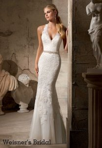 Mori Lee Ivory Lace Over Satin Traditional Wedding Dress Size 14 (L)