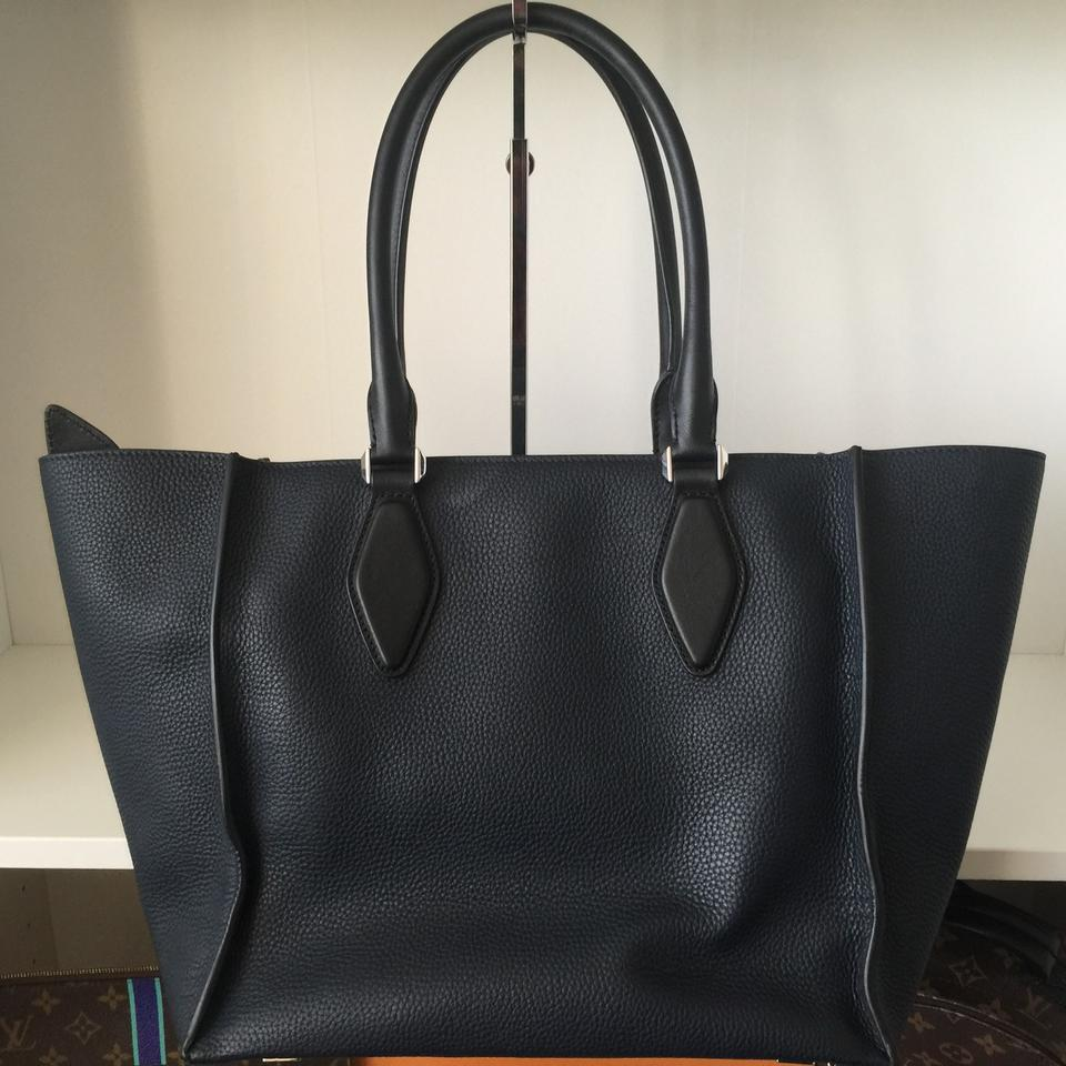 448a24518cdc Michael Kors Collection Gracie Navy and Black Pebbled Leather Tote ...