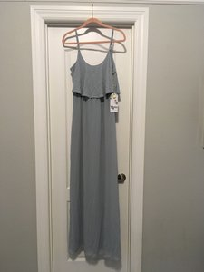 Show Me Your Mumu Steel Blue Chiffon Caitlin Ruffle Maxi Destination Bridesmaid/Mob Dress Size 8 (M)