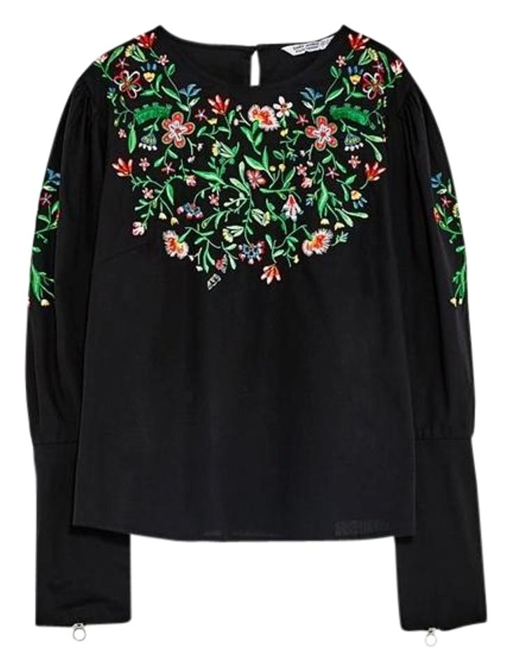 903e24dc87ce52 Zara Black With Floral Embroidery Long Sleeve Zipped Cuff New Poplin Blouse