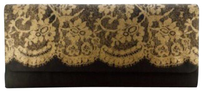 Item - Ladies with Lace Print Black and Gold Clutch