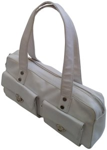 Perlina Shoulder Zipper Top Satchel in White