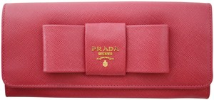 Prada Saffiano Leather Pink-Berry Long Wallet Bow Box Fiocco New