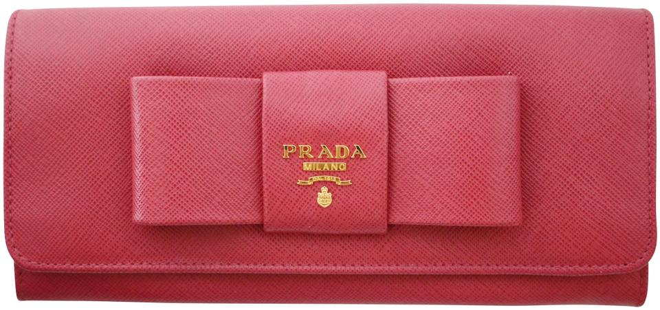 1c3bec7460e392 Prada Pink Long Box Saffiano Leather Pink-berry Bow Fiocco New Wallet